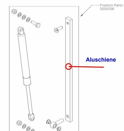 Aluschiene für Halterung Gasdruckfeder